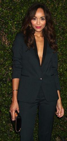 Ashley Madekwe. Stunning.  The Kooples suit.