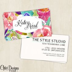 Hair Stylist - Elegant Shabby Chic - Business Card - Watercolor - Customizable - Digital/Printable File - pinned by pin4etsy.com