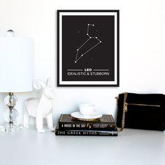 Leo Zodiac Constellation Print Digital download by TheDesignHouzz