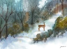 """A Gentle Moment"" - Digital watercolour, in Snowy Landscapes Winter Art, Snow, In This Moment, Watercolor, Digital, Landscapes, Painting, Outdoor, Illustrations"