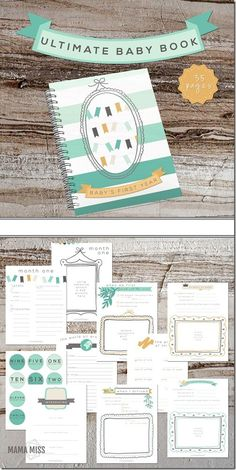 Ideas Baby First Book Diy Free Printable For 2019 One Month Baby, Babies First Year, Baby Book Pages, Baby Books, Baby Milestone Book, Baby Record Book, Best Baby Memory Book, Baby's First Books, Baby Records