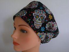 2b5b26d3adc Sugar Skulls Black Rave or Mini Rave - Womens lined surgical scrub cap