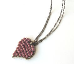 Swarovski  pearl Pendant   Heart Pendant Red coral by liorajewelry, $49.00