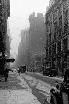 David Vestal - West 22nd Street, Snow Falling, New York City, 1958