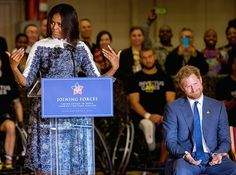 In her speech welcoming Prince Harry, Michelle Obama jokes: 'All right ladies, Prince Harry is here!'