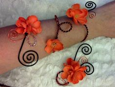 Hand painted silk flower corsage arm band and boutonniere set with swarovski crystal and orange wire accents.