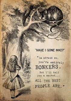 """Mad Matter: ""Have I gone mad?"" Alice: ""I'm afraid so. You're entirely bonkers. But I'll tell you a secret. All the best people are."" ― Lewis Carroll, Alice in Wonderland Alice In Wonderland Print, Alice And Wonderland Quotes, Adventures In Wonderland, Wonderland Party, Alice In Wonderland Pictures, Citation Art, Book Quotes, Life Quotes, Inspirational Quotes From Books"