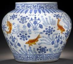 Ming dynasty jar featuring Golden Carp Painted in vibrant blue