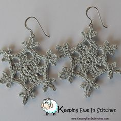 The Limited Edition Silver Snowflake Earrings are a silver with a metallic silver thread woven though. Nice and sparkly, just in time for your Holiday pleasure! Ill get some video up soon to show you just how amazing these look!  Crochet of 88% cotton wi