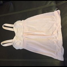 Lulu pink workout top. EUC. Very cute. Lulu top. Great for a workout or day at the beach! Light gray lines in the fabric. lululemon athletica Tops Tank Tops
