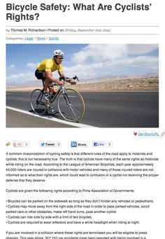 Friedl Richardson Trial Lawyers Discuss Cyclists' Rights in AZ Business Magazine  http://aznow.biz/legal/bicycle-safety-cyclists-rights