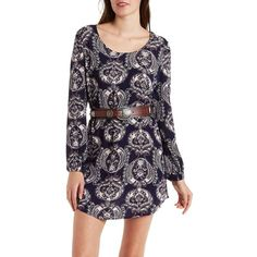 Charlotte Russe Navy Combo Paisley Print Gauzy Woven Shift Dress by... ($25) ❤ liked on Polyvore featuring dresses, navy combo, navy blue dress, navy blue short dress, peasant dress, navy sundress and shift dress