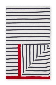 Navy Stripe Knitted Throw