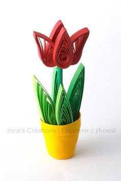 Tulip in flower pot (quilling) - cysaapparel 3d Quilling, Quilling Flowers Tutorial, Quilling Videos, Quilling Dolls, Paper Quilling For Beginners, Paper Quilling Flowers, Paper Quilling Cards, Paper Quilling Jewelry, Paper Quilling Patterns
