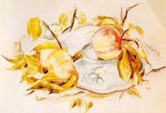 "Charles Demuth ""Peaches"" - Philadelphia Museum of Art ~ Philadelphia, Pennsylvania, USA Watercolor Techniques, Drawing Techniques, Lancaster, Charles Demuth, Philadelphia Museum Of Art, Reproduction, American Artists, Art Education, Still Life"