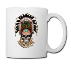 indian native Owl sugar Skull - Full Color Mug #mug #travelmug #sugarskull #skull #skeleton #bone #hallowen #nightmare #monster #dracula #zombie #hunter #evil #devil #daemon #magic #witch #voodoo #kingdom #animal #animalkingdom #ghost #vampire #hauntedmansion #bird #lion #beast #jungle