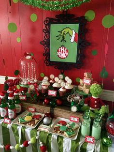 the Rainbow Christmas Tree year? The Grinch Christmas/Holiday Party Ideas. Dont let the Grinch steal your Christmas this year. Grinch Party, Grinch Christmas Party, Christmas Party Decorations, Noel Christmas, Family Christmas, Xmas Party Ideas, Holiday Ideas, Grinch Decorations, Christmas Ideas
