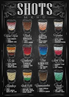 Chalkboard Print -Kitchen Art-Chalkboard Alcohol Beverage -Shots Menu-Bar-Shots Recipes-Drinks-Cocktails Recipes Print 8 x 10 Drink Bar, Bar Drinks, Beverages, Shots Drinks, Cocktails, Cocktail Drinks, Cocktail Recipes, Alcoholic Drinks, Bar Shots