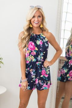 a06240d112c Because Of Your Love Floral Romper Navy Trendy Outfits