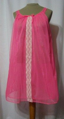 Vintage 60s Hot Pink Nightie Gown Double Sheer Nylon Pinup GoGo Trapeze