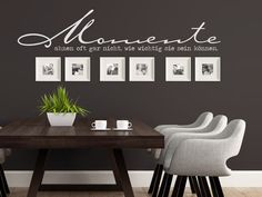 Wandtattoos mit Bilderrahmen kombiniert Combine wall tattoos with picture frames – ideas and tips. Wall tattoo saying moments often do not even realize how important they can be … with square frames Interior Design Living Room, Living Room Decor, Bedroom Decor, Frame Wall Decor, Frames On Wall, Wall Tattoo, Diy Décoration, Diy Home Crafts, Modern Decor