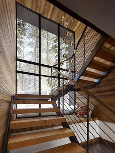 Modern staircase design ideas - surf inspiring images of modern stairs. Rustic Staircase, Wood Stairs, House Stairs, Stair Railing, Staircase Design, Railings, Staircase Ideas, Stairs Window, Wood Walls