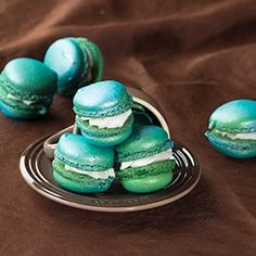 Mint-Strawberry Macarons - for blue and green wedding.
