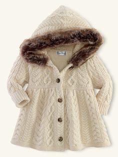 Aran-Knit Baby Doll Coat - Outerwear  Layette Girl (Newborn–9M) - RalphLauren.com