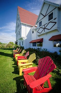 Bright Colours at Keltic Lodge Resort and Spa ©Monika Mackenzie Outdoor Chairs, Outdoor Furniture, Outdoor Decor, Cape Breton, Colour Pallete, Bright Colours, The Province, Nova Scotia, Color Blocking
