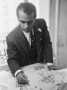 1983 - Karl Lagerfeld  at Chloe drawing by Pierre Vauthiey