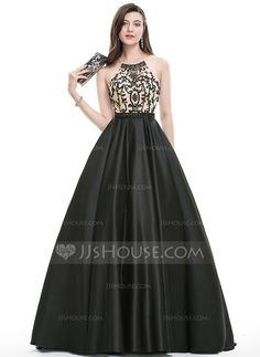 Ball-Gown Scoop Neck Sweep Train Beading Sequins Zipper Up Crossed Straps Spaghetti Straps Sleeveless No Black Spring Summer Fall General Plus Satin Hight:5.7ft Bust:32in Waist:24in Hips:35in US 2 / UK 6 / EU 32 Prom Dress
