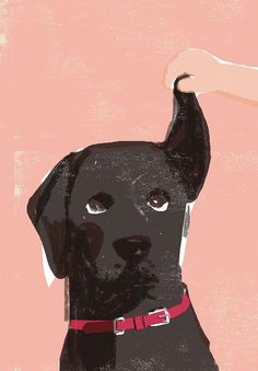 Black lab - Super cute dog illustration by Tatsuro Kiuchi - He's a Japanese illustrator (born in 1966 in Tokyo) who originally graduated in biology at the Tokyo University, but switched to an art career after studying at the Art Center College of Design in Pasadena, California.