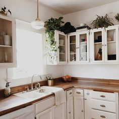 Yes to this pleasant kitchen scene #unionpendant #brassplanter #schoolhouseelectric (via @branchabode) / shop this fixture   shade   planter - link in profile