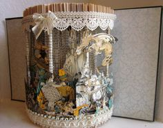 """fairy tales altered book """"My Book House"""" pop-up style on a carousel antique vintage book repurposed by Raidersofthelostart on Etsy"""