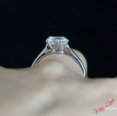 Moissanite Solitaire Engagement Ring Round cut by WanLoveDesigns