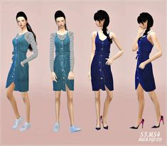Ribbon Belt Denim Dress by Marigold | Sims 4 Nexus