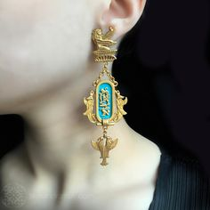 Askew London Egyptian Hieroglyphic clip-on earrings | Alexandra May Jewellery