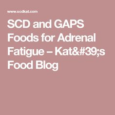 SCD and GAPS Foods for Adrenal Fatigue – Kat's Food Blog
