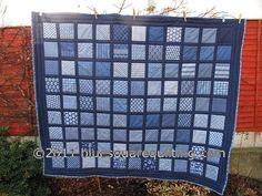 This large lap quilt is made of 48 different beautiful South African Indigo prints and is quilted loosely to make it soft and light. This quilt uses polyester batting and a solid dark navy cotton backing. Dimensions : x / x Washing instructions : machine Circle Quilts, Square Quilt, Quilting Projects, Quilting Designs, Quilting Ideas, Blue Jean Quilts, Denim Quilts, White Quilts, Baby Memory Quilt