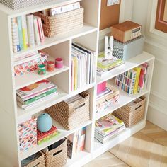 These shelves are perfect for a bedroom, home office, craft room, or just about anywhere! I love the use of vertical and horizontal space to organize this room. Craft Room Storage, Room Organization, Ikea Craft Room, Craft Room Decor, Small Room Bedroom, Bedroom Decor, Girls Bedroom Storage, Bedroom Ideas, Bedroom Designs