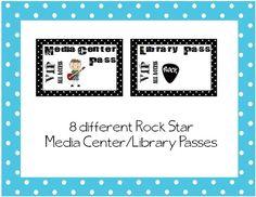 "8 different ""Rock Star"" Library/Media Center passes $1.00 on TpT"