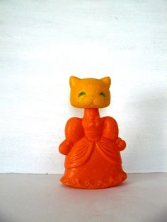 Soviet vintage plastic Toy, lady Cat from Soviet era,orange,Russian design, Made in USSR, 80-s,Soviet Union