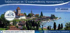 Πετάξτε με έκπτωση έως 40% !!!! Για πτήσεις από/προς Ντύσελντορφ,Φρανκφούρτη,Μόναχο, Βερολίνο,Κολωνία,Νυρεμβέργη,Στουτγάρδη,Ανόβερο,Αμβούργο, Γενεύη,Ζυρίχη και Βιέννη 15.09.2014–10.01.2015 30% 11.01.2015–28.03.2015 40%  Κρατήσεις μέχρι 15.05.2014 www.aktinatickets.gr Πτήσεις από 15.09.2014 μέχρι 28.03.2015