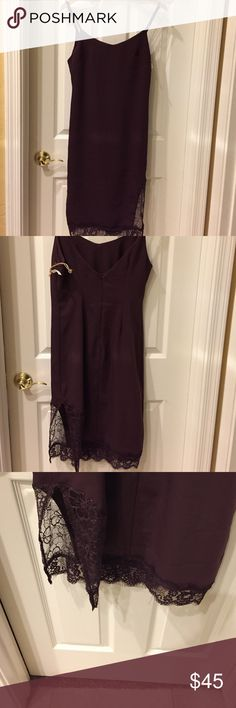 SEXY Leith Slip Dress in Burgundy Midi V, with spaghetti straps. Lace and side slip in bottom. Tags on but price cut off Leith Dresses Midi