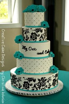 Black White Turquoise Wedding Cake | hmmm i never thought of teal and black and white as wedding colors ...