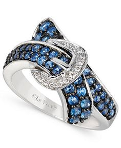 Le Vian 14k White Gold Ring, Ceylon Sapphire (1 ct. t.w.) and Diamond Accent Bypass Buckle Ring - FINE JEWELRY - Jewelry & Watches - Macy's