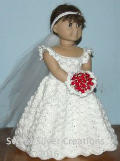 Hello and thank you for taking the time to view my latest creation. This listing is for the pattern to create this beautiful Bridal Ensemble for your 18 inch doll. Pattern includes instructions for the dress, veil and bouquet. This pattern was created with Caron Simply Soft Party yarn and is designed to fit the 18 inch American Girl dolls, yet could be used for dolls of comparable size. Made in a smoke free and pet free home. This pattern is typed up so that when printed, you can punch ho...