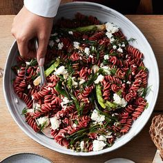 Try a veggie based pasta, like beet fusilli in this recipe with feta, capers, and charred spring onions Red Lentil Pasta Recipes, Healthy Pasta Recipes, Healthy Pastas, Healthy Cooking, Healthy Foods, Yummy Recipes, Cooking Tips, Salad Recipes, New York Times Cooking