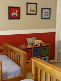 Thinking of doing this for Hudson's new room .. Only the red would be a pool blue shade.