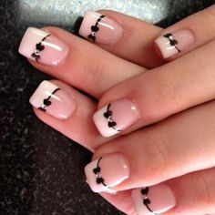 The best collection of 32 Gorgeous Bow Nail Art Designs Bow Nail Designs, French Manicure Nail Designs, Cute Nail Art Designs, Nail Manicure, Diy Nails, Cute Nails, Pedicure, Manicures, Nails Design